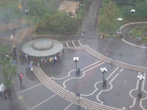 Rainy day huddle
